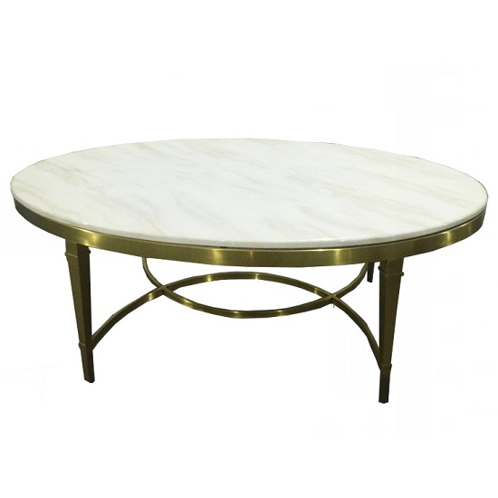Modena Marble Coffee Table Wide In White With Metal Frame