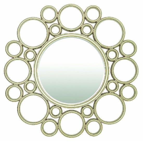 Modena Decorative Wall Mirror Round In Light Champagne Leaf