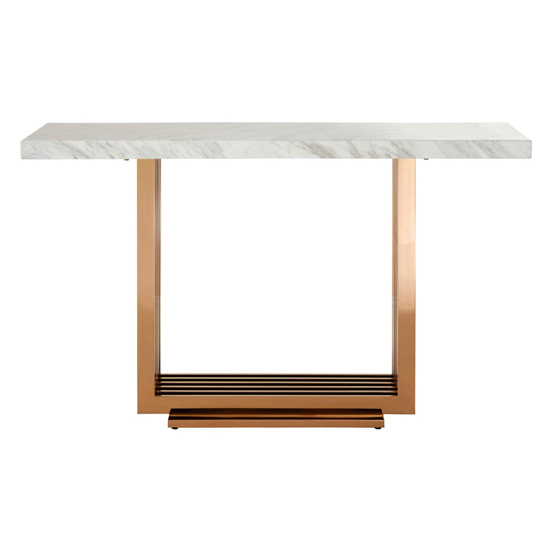 Modeno White Marble Console Table With Rose Gold Base_2