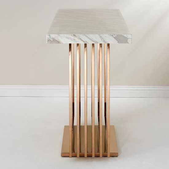 Modeno White Marble Console Table With Rose Gold Base_3