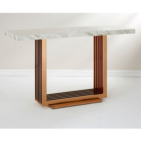 Modeno White Marble Console Table With Rose Gold Base_1
