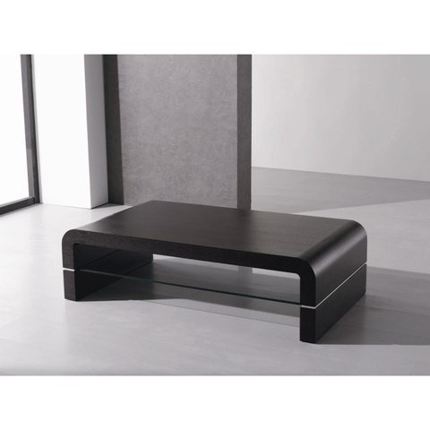 Modern Coffee Table In Ash Veneer With Glass Shelf