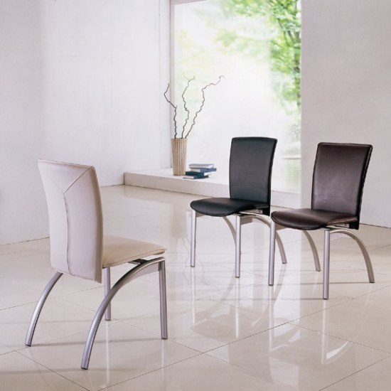Modern dining chair in black faux leather with chrome legs 4 for Modern dining room chairs