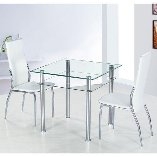 Como Square Clear Glass Dining Table And 2 Ivory Pisa Chairs