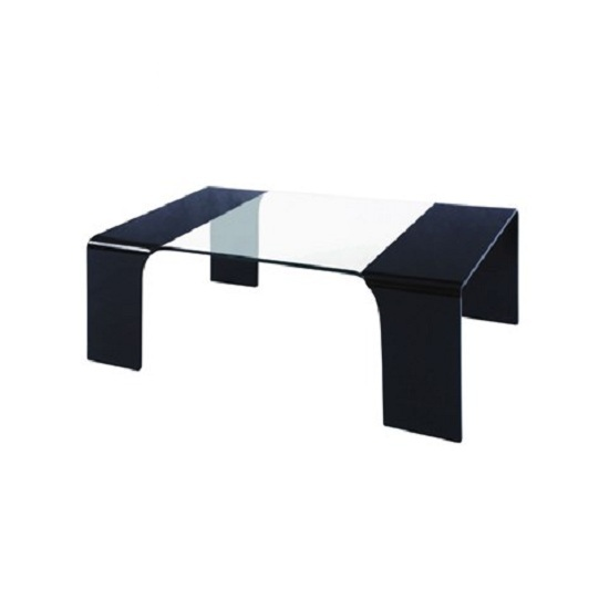 Bent Rectangular Coffee Table In Black And Clear Glass
