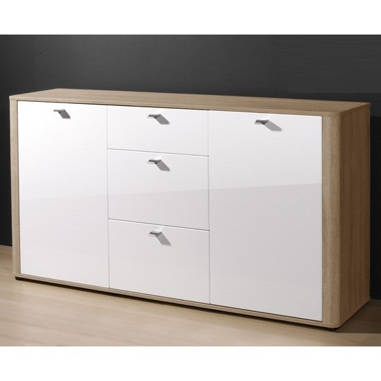 Monza Wide Sideboard In Gloss White And Oak With 2 Doors