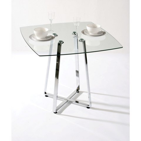 Square Glass Dining Table In Clear With Chrome Base