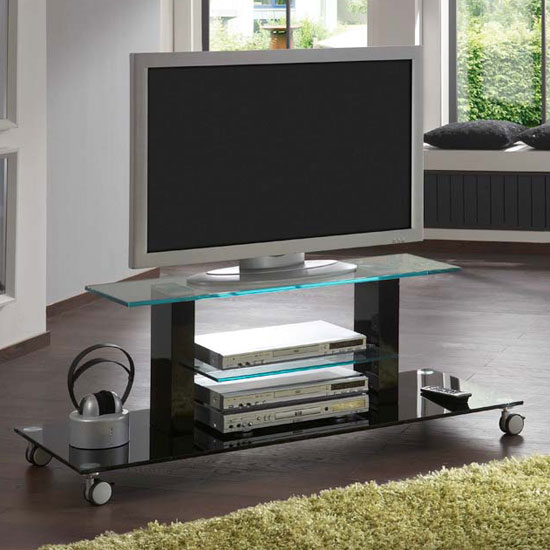 Tv Stand Designs Glass : Opus gloss black tv trolley furniture in