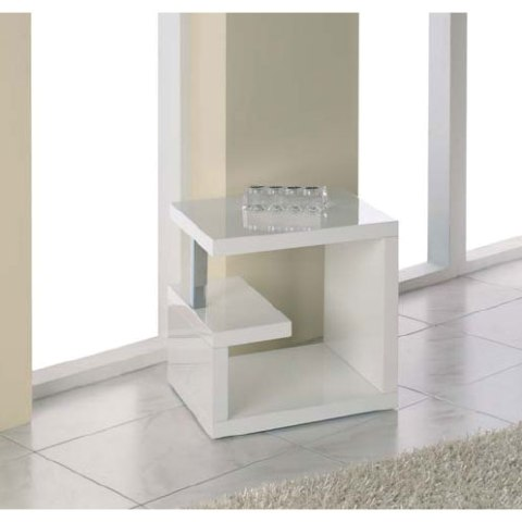 Geno End Table In High Gloss White