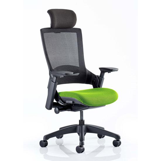 View Molet black back headrest office chair with myrrh green seat