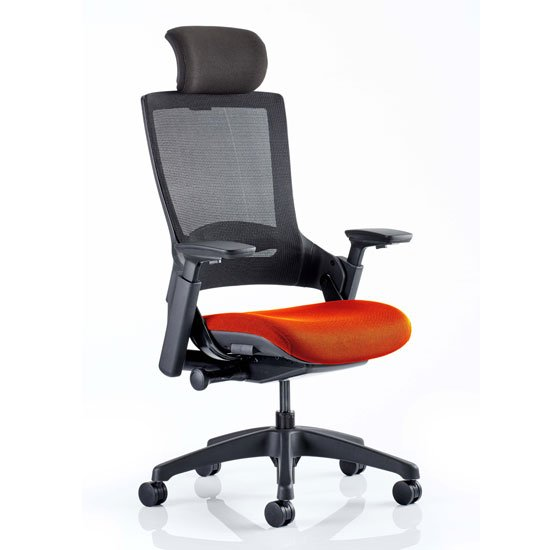 Molet Black Back Headrest Office Chair With Tabasco Red Seat