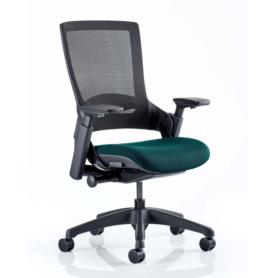 Molet Black Back Office Chair With Maringa Teal Seat