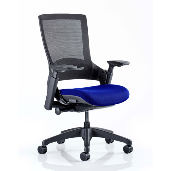 Molet Black Back Office Chair With Stevia Blue Seat