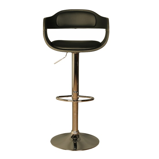 Molte Bar Stool In Black Faux Leather With Chrome Base