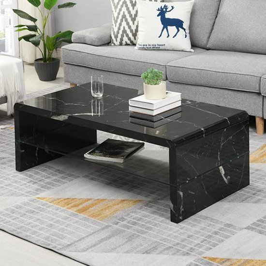 Momo High Gloss Coffee Table In Milano Marble Effect With Glass Undershelf