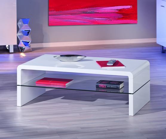 Momo White Gloss Coffee Table With Glass Shelf