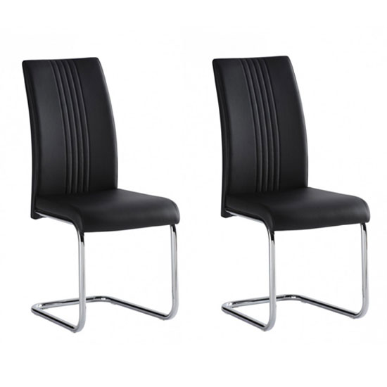 Monaco Black PU Leather Dining Chair In A Pair