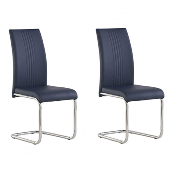 Monaco Blue PU Leather Dining Chair In A Pair