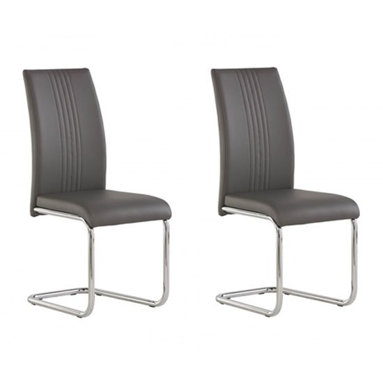 Monaco Grey PU Leather Dining Chair In A Pair