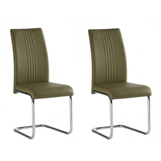 Monaco Olive Green PU Leather Dining Chair In A Pair