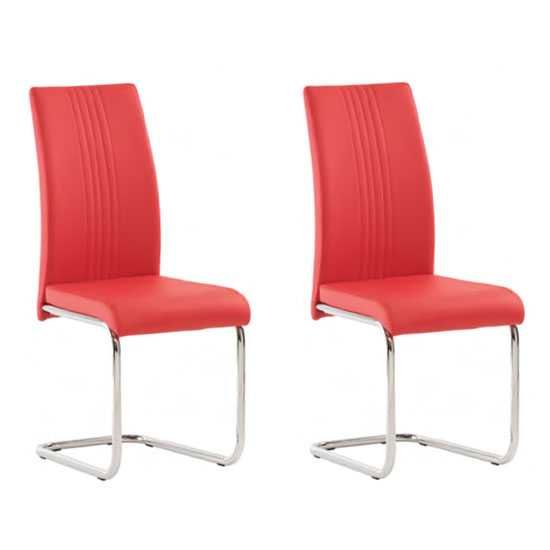 Monaco Pillar Red PU Leather Dining Chair In A Pair