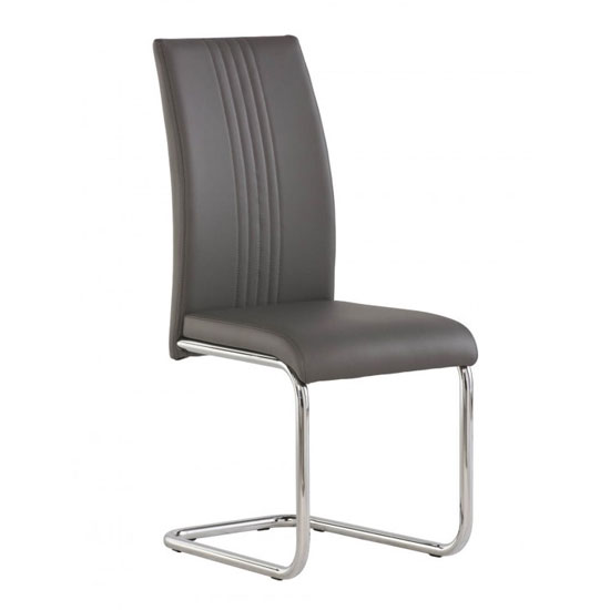 Monaco PU Leather Dining Chair In Grey