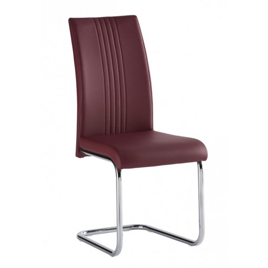 Monaco PU Leather Dining Chair In Red