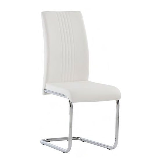 Monaco PU Leather Dining Chair In White