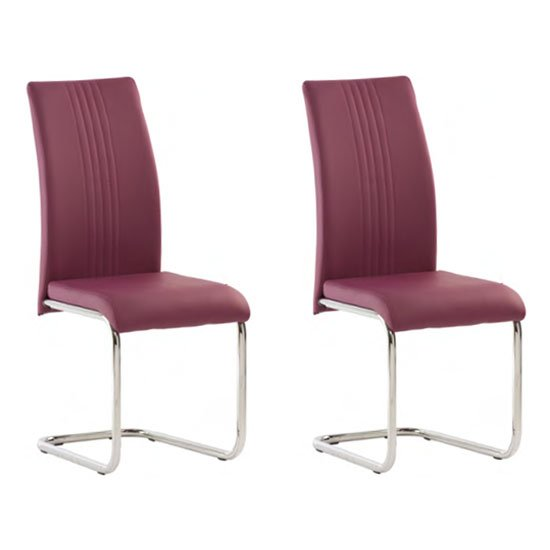 Monaco Purple PU Leather Dining Chair In A Pair_1