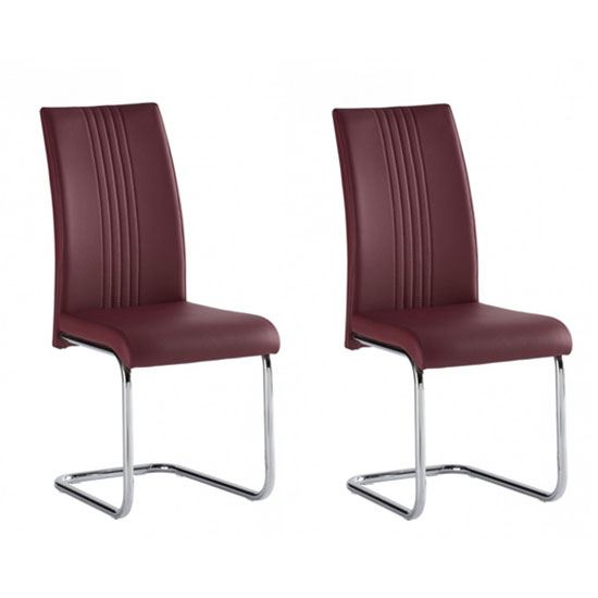 Monaco Red PU Leather Dining Chair In A Pair
