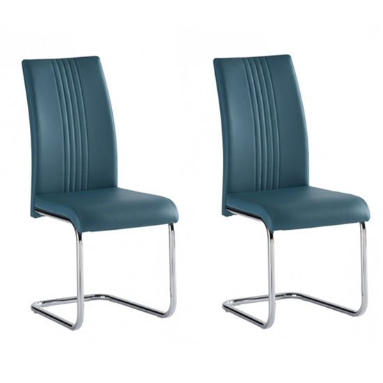 Monaco Teal PU Leather Dining Chair In A Pair
