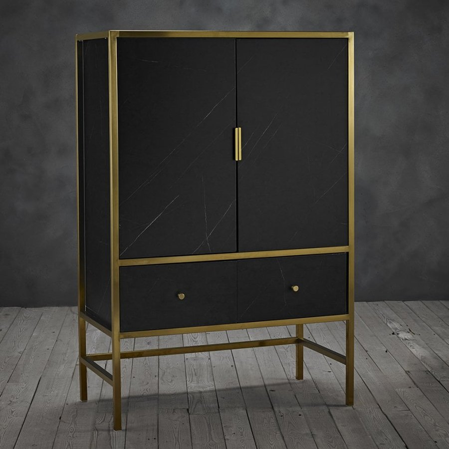 Monaco Wooden Drinks Cabinet In Black With Gold Frame