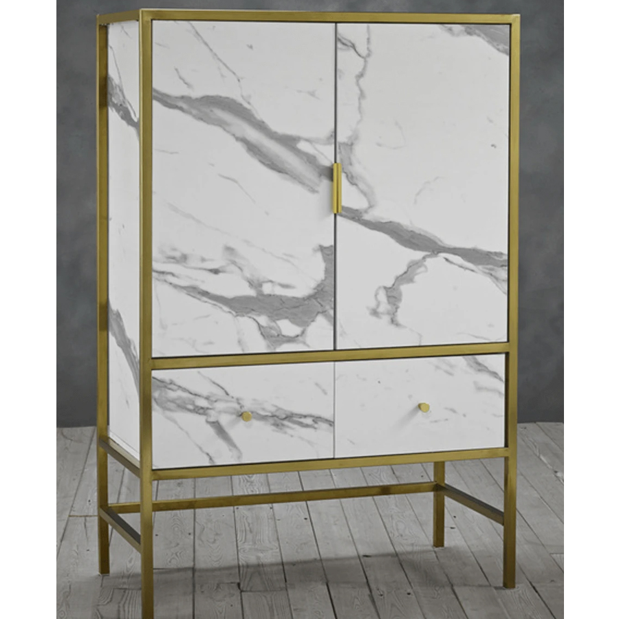 Monaco Wooden Drinks Cabinet In In White With Gold Frame