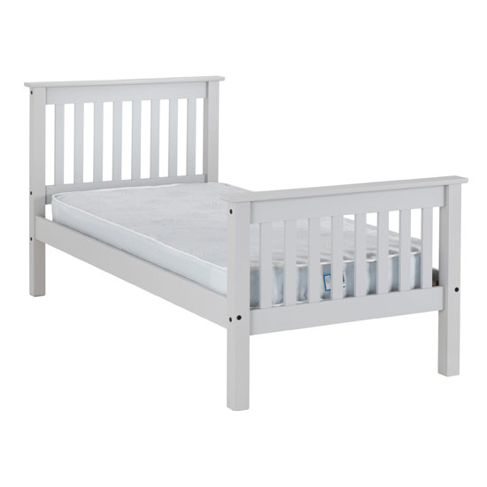 Monaco Wooden High Foot End Single Bed In Grey_2
