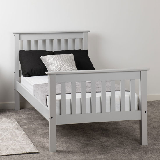 Monaco Wooden High Foot End Single Bed In Grey_1