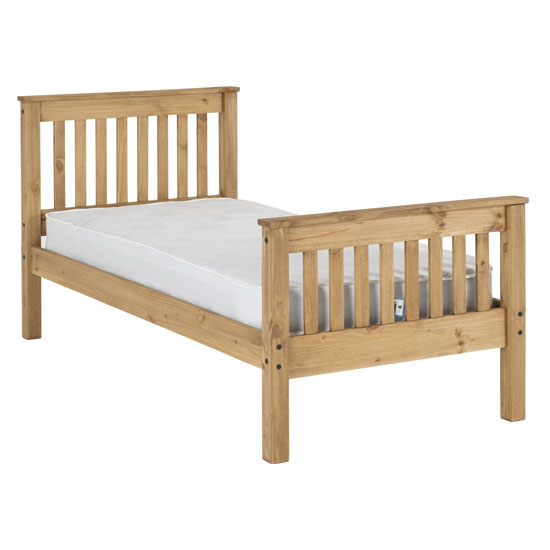 Monaco Wooden High Foot End Single Bed In Waxed Pine