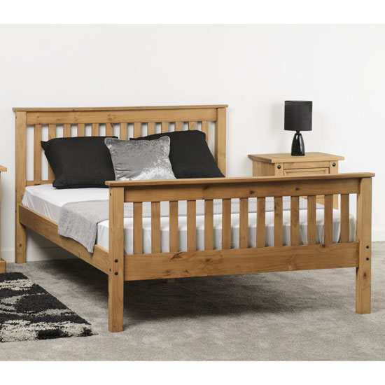 Monaco Wooden High Foot End Super King Size Bed In Waxed Pine