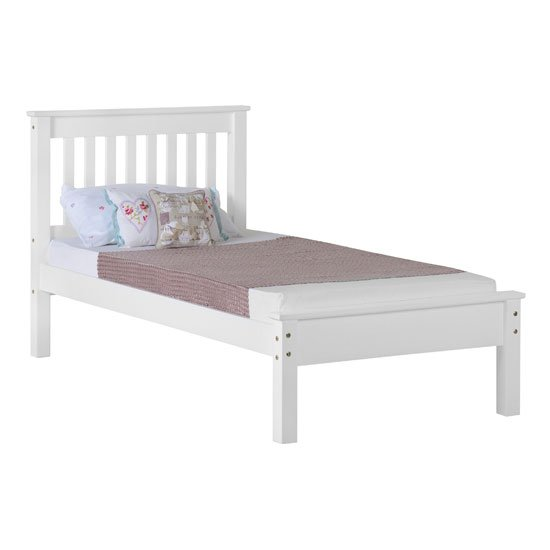 Monaco Wooden Low Foot End Single Bed In White_1