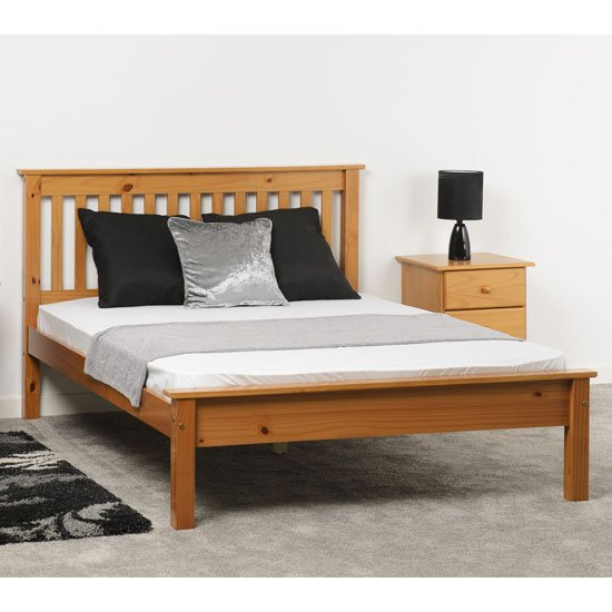 Monaco Wooden Low Foot End Super King Size Bed In Antique Pine