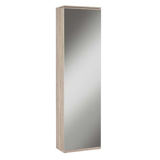 Monale Mirrored Shoe Storage Cabinet In Brushed Oak