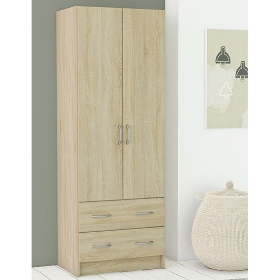 Product photograph showing Monale Woonden 2 Doors 2 Drawers Wardrobe In Brushed Oak