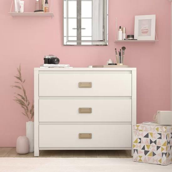 Monarch Hill Haven Chest OF Drawers In White With 3 Drawers