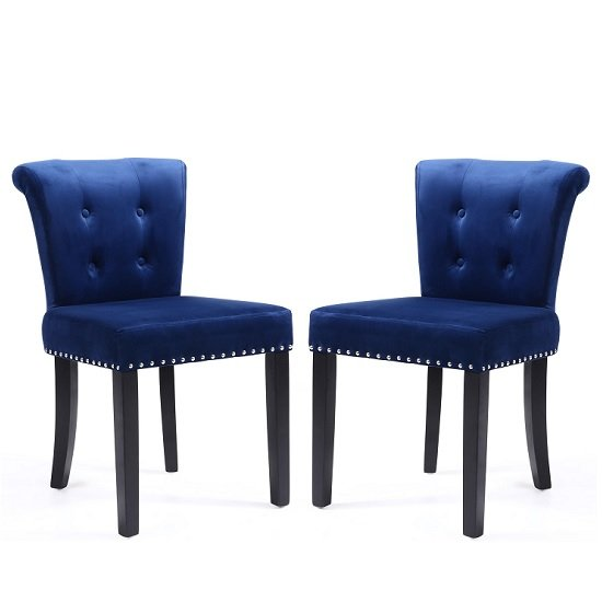 Monet Accent Chair In Brushed Velvet Ocean Blue In A Pair