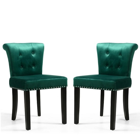 Monet Accent Chair In Brushed Velvet Green In A Pair