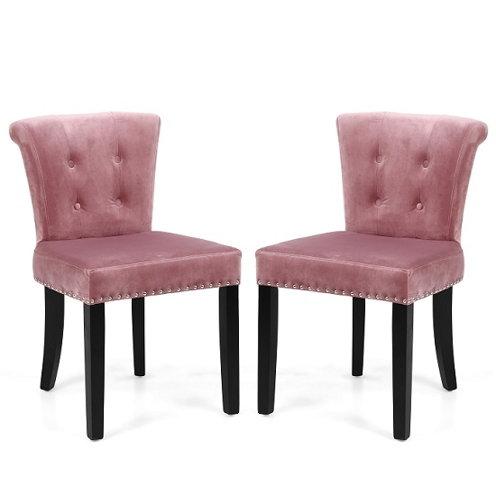 Monet Accent Chair In Brushed Velvet Pink Blush In A Pair