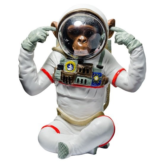 Monkey Astronaut Figurine Hear No Evil Resin Sculpture
