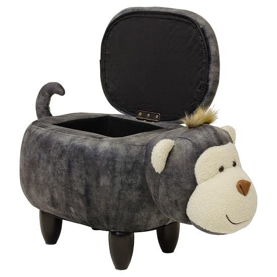 View Monkey shaped ottoman storage seat in grey