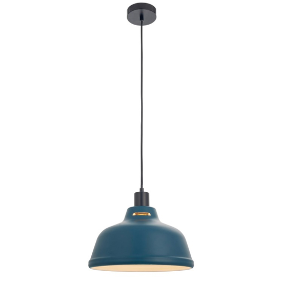 Mono Wall Hung Pendant Light In Ink Blue And White