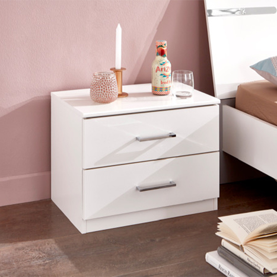 Monoceros Wooden Bedside Cabinet In White With 2 Drawers