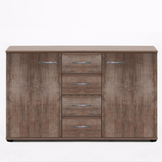 Monoceros Wooden Sideboard In Muddy Oak With 4 Drawers